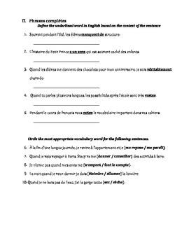 Petit Prince Vocabulary Quiz 3