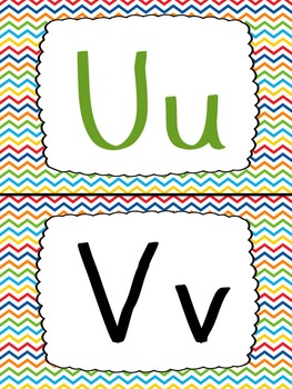 Petite Primary-Colored Chevron Word Wall Headers/ Alphabet Cards