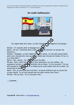 French Pronoms Y et EN - French story -  Un Oubli malheureux