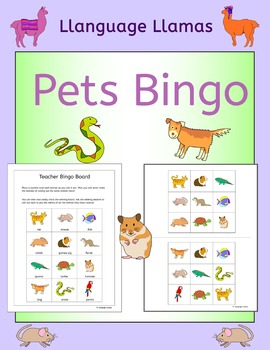 Pets Bingo for EFL ESL EAL MFL