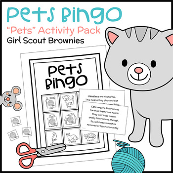 """Pets Bingo - Girl Scout Brownies - """"Pets"""" Activity Pack (Steps 1 & 3)"""