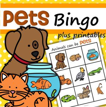 Pets Bingo for Preschool and Pre-K