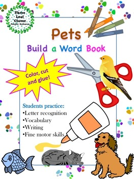 Pets Build a Word Book - Color, Cut and Glue Activity