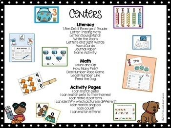 Pets Circle Time Unit and Math and Literacy Centers