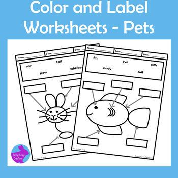 Pets Color and Label Worksheets Motor Skills OT