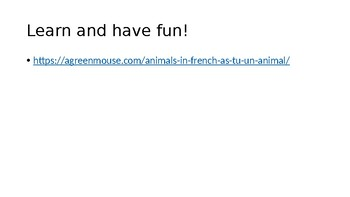 Pets: Do you have a pet? Colors. The verb AVOIR/ to have