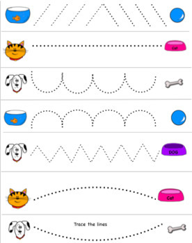 Pets,  Fine Motor pages - dogs cats fish bunny -line tracing