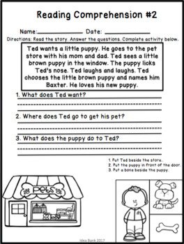 NO PREP Valentine's Day, Pets and Friendship Reading Comprehension