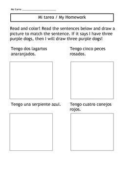 Las Mascotas/Los animales - Pets Homework Unit with 3 Assignments and Flashcards