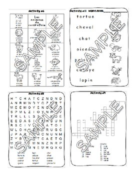 Pets / Les animaux de compagnie FRENCH Worksheets and Games Pack