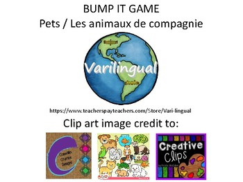 "Pets / Les animaux de compagnie - game ""Bump It"""