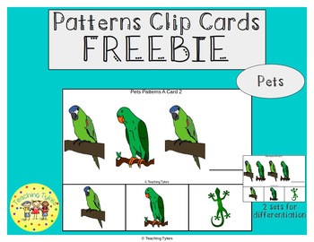 Pets Patterns Task Clip Cards FREEBIE