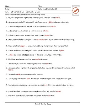 Pets-Pet Care Fill in the Blank Exam