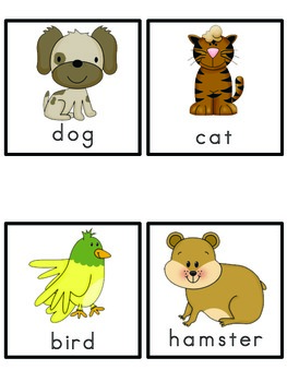 Pets Picture Word Bank and Picture Cards
