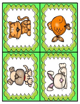 Pets: Picture & Word- English/Spanish Matching