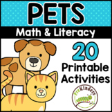 Pets Printable Math & Literacy Activities for Pre-K, Preschool, Kindergarten