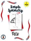 Pets - Simple Symmetry - Draw Color Trace - 5 pages