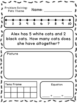 Pets Theme Addition & Subtraction Word Problems (Kindergarten/First)