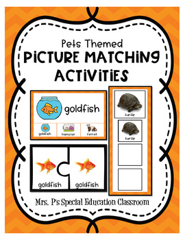 Pets Themed Picture Matching Activities