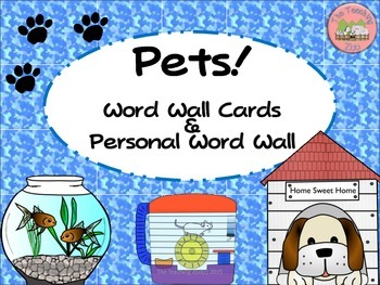 Pets Word Wall Cards & Personal Word Wall