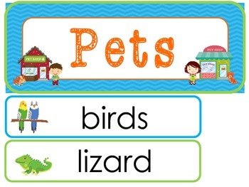 Pets Word Wall Weekly Theme Posters.
