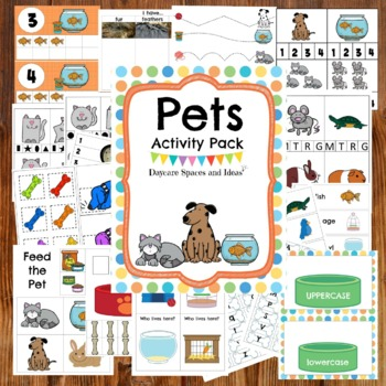 Pets activity pack for preschool, pre-k and tots