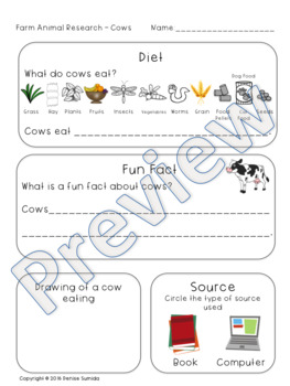Pets and Farm Animal Research Diet and Fun Facts Kindergarten