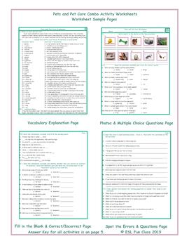 Pets and Pet Care Combo Activity Worksheets