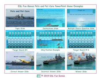 Pets and Pet Care English Battleship PowerPoint Game