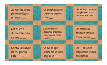 Pets and Pet Care Spanish Card Game