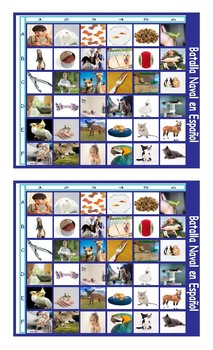Pets and Pet Care Spanish Legal Size Photo Battleship Game