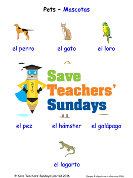 Pets in Spanish Worksheets, Games, Activities and Flash Cards