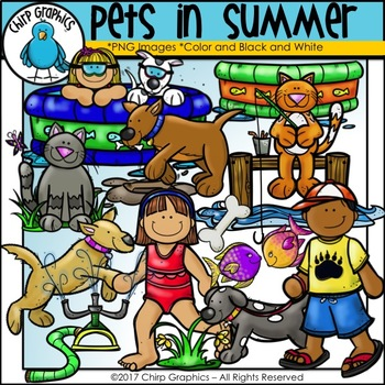 Pets in Summer Clip Art - Chirp Graphics