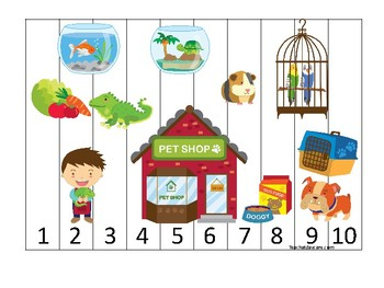 Pets themed 1-10 Number Sequence Puzzle Game. Printable Preschool