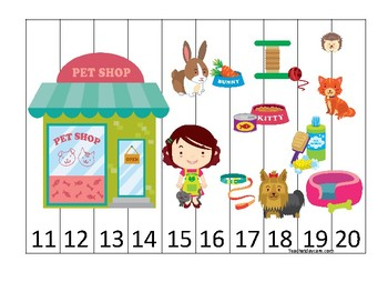 Pets themed 11-20 Number Sequence Puzzle Game. Printable Preschool