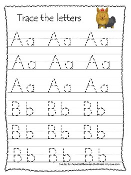 Pets themed A-Z Tracing Worksheets.Printable Preschool Handwriting