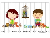 Pets themed Alphabet Sequence Puzzle Game. Printable Preschool Gam