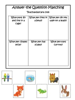 Pets themed Answer the Question Game.  Printable Preschool Game