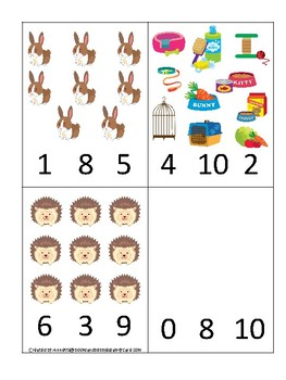 Pets themed Count and Clip Game.  Printable Preschool Game