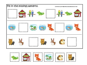 Pets themed Fill In the Missing Pattern Game. Printable Preschool Game