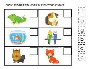 Pets themed Match the Beginning Sound Game. Printable Preschool Game