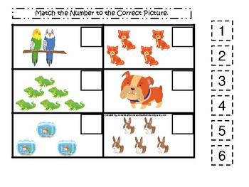 Pets themed Match the Number Game. Printable Preschool Game