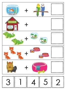 Pets themed Math Addition Game. Printable Preschool Game