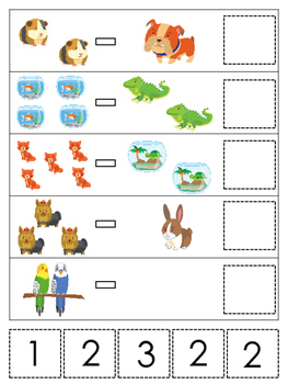 Pets themed Math Subtraction preschool learning game.  Daycare math.