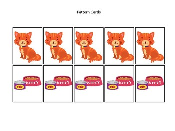 Pets themed Pattern Cards and Game Board. Printable Preschool Game