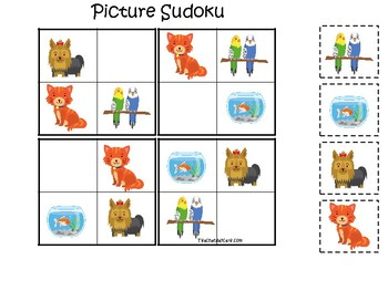 Pets themed Picture Sudoku Game. Printable Preschool Game