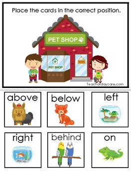 Pets themed Positional Word Game. Printable Preschool Game