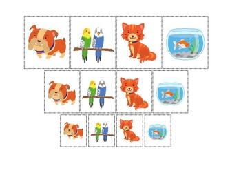 Pets themed Size Sorting. Printable Preschool Game.