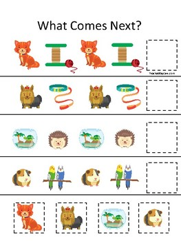 Pets themed What Comes Next. Printable Preschool Game
