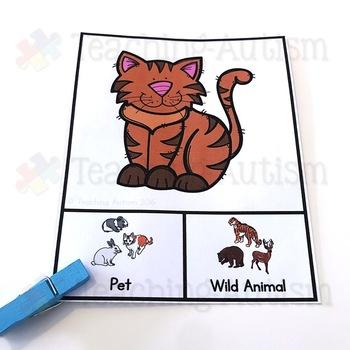 Pets v Wild Animals Sorting Categories Task Cards